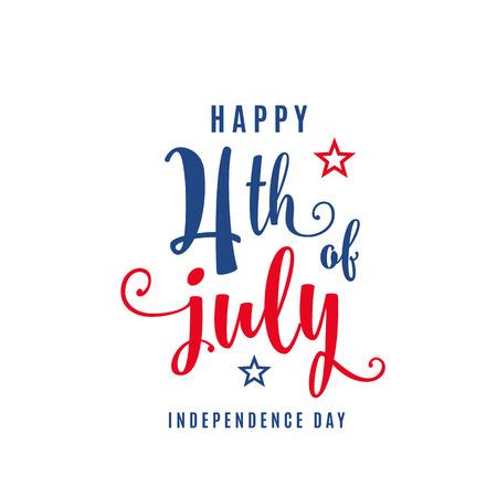 Bandera de vacaciones de celebración del 4 de julio. Cartel del día de la independencia de Estados Unidos para saludo, diseño de concepto de venta. Aislado en blanco. Ilustración vectorial