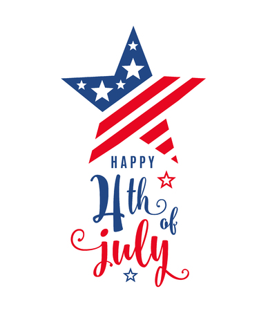 4th of July celebration holiday banner, star shape with typography lettering text. USA Independence Day poster for greeting, sale concept design. Isolated on white. Vector illustration Stock Photo