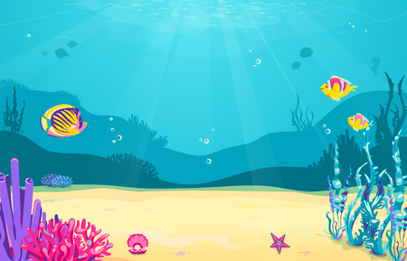 Underwater cartoon background with fish, sand, seaweed, pearl, jellyfish, coral, starfish. Ocean sea life cute design Vector illustration
