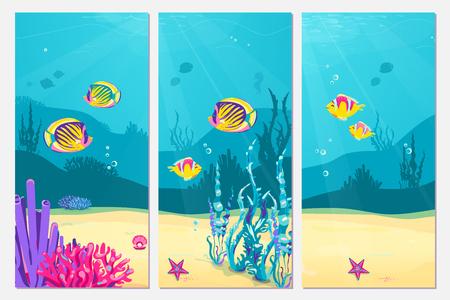 Underwater scene cartoon flat background with fish, sand, seaweed, coral, starfish. Ocean sea life, cute vertical banner design Vector Illustration