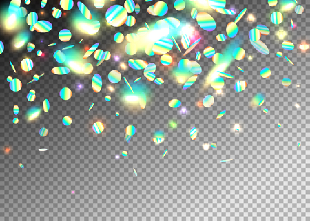 Rainbow holographic effect background with glitter, neon, light foil particles. Iridescent round shape falling, floating elements. Motion dynamic glitch vector illustration Ilustração
