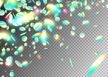 Rainbow holographic effect background with glitter, neon, light foil particles. Iridescent round shape fraction at diagonal dynamic composition. Motion glitch explosion. Vector illustration