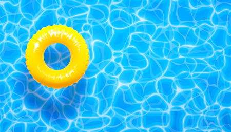 Water pool summer background with yellow pool float ring. Vector illustration of summer blue aqua textured background Фото со стока - 114839240