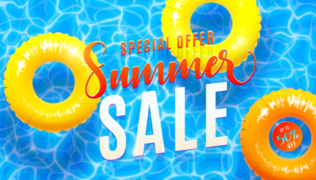 Summer sale banner background with blue water texture and yellow pool float. Vector illustration of sea beach special offer poster