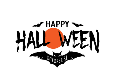 Happy Halloween vector text banner. Silhouette holiday sign background Stock Illustratie