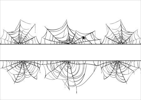 Frontière de vecteur de toile d'araignée Halloween. Toile d'araignée fond illustration isolé sur blanc Vecteurs