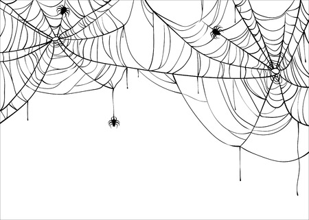 Halloween spiderweb vector background with spiders, copy space. Cobweb backdrop illustration isolated on white Vektorové ilustrace