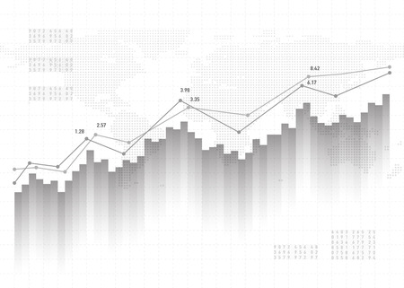 Graph chart data background. Finance concept, gray vector pattern. Stock market report statistics design.