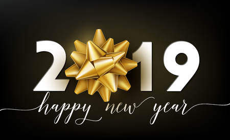 2019 Happy New Year vector background with golden gift bow, white numbers and lettering wishing. Christmas celebrate design. Festive premium concept template for holiday.
