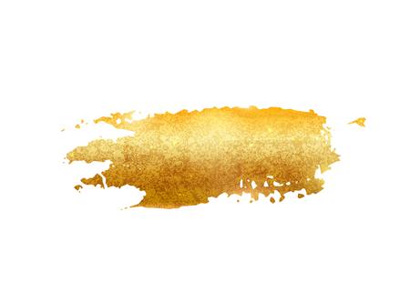 Gold glitter foil brush stroke vector. Golden paint smear background isolated on white. Glow metal pattern Ilustração Vetorial