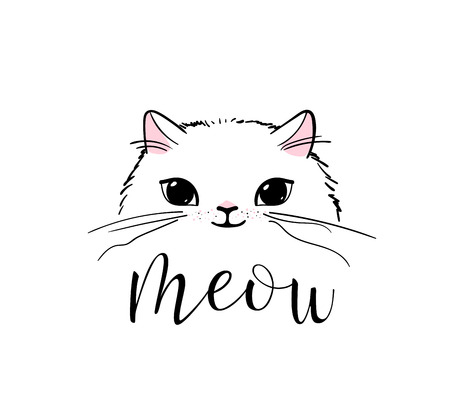Cute cat vector print design. Meow lettering text. Kitten face vector background. Funny and cool smiling cartoon character. Love baby illustration. Ilustração