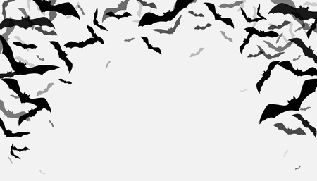 Halloween fliegende Fledermäuse Grenze Hintergrund. Gruselige Schattenbildflittermausgruppe lokalisiert auf Weiß. Kopieren Sie den Platz in der Mitte unten. Vektorillustration