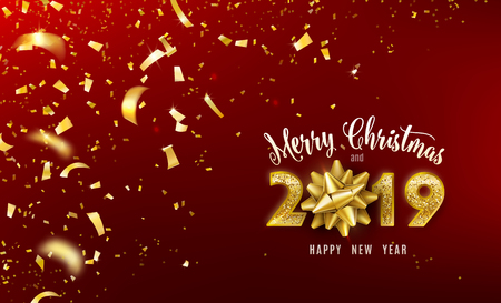 Merry Christmas and 2019 Happy New Year vector background with golden gift bow, confetti, glitter numbers. Xmas celebrate design. Festive premium concept template for holiday.