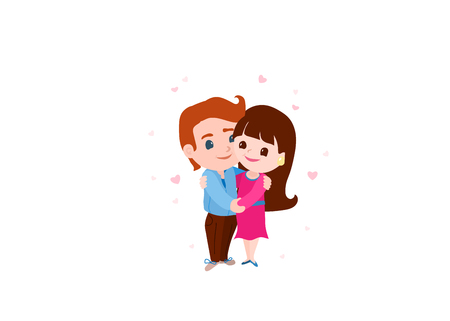 Couple in love. Man and woman embracing each other gently. Characters for Valentines day. Vector illustration. Illustration