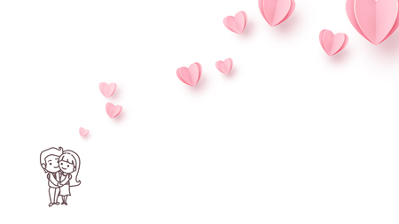 Love background with line style couple boy and girl hugs each other and flying pink paper hearts. Copy space. Love heart graphic design for greeting cards, banner, flyer. Vector illustration.