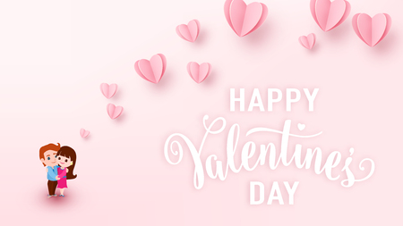 Valentines day background with light pink paper hearts, white text sign and couple boy and girl hugs each other. Love heart graphic design for greeting cards, banner, flyer. Vector illustration. Illustration