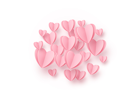 Heart round background with light pink paper hearts. Love pattern for graphic design, cards, banner, flyer greetings. Vector illustration.