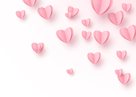 Heart background with light pink paper cut hearts. Love pattern for motion graphic design, valentines day cards, mother greetings. Vector illustration. Illustration