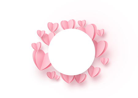 Heart round background with light pink paper hearts and circle white frame at the centre. Copy space. Love pattern for graphic design, cards, banner, flyer greetings. Vector illustration.