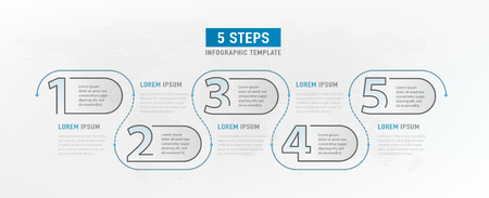 5 step elements. Workflow graphic design. Infograph timeline, strategy work diagram. Infographic template. Vector illustration