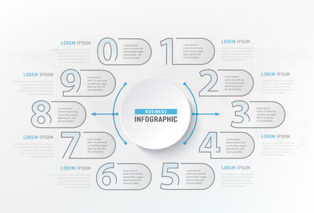 Infographic numbers steps element. Circle graphic chart diagram, business graphic design. Vector illustration.