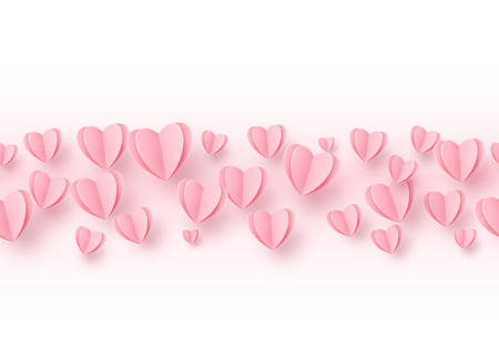 Heart seamless line border background with light pink paper hearts. Love pattern for graphic design, cards, banner, flyer greetings. Vector illustration.