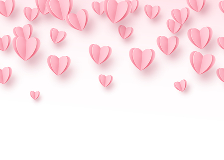 Heart seamless background with light pink paper cut hearts. Love pattern for graphic design, cards, banner, flyer greetings. Vector illustration.