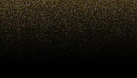 Gold glitter seamless border background. Glittering black backdrop. Golden shimmer texture for luxury design. Dust abstract on dark. Vector illustration.