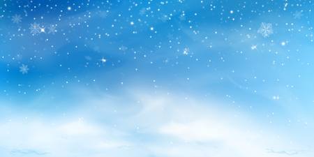 Snow winter background. Christmas sky landscape with cold cloud, blizzard, stylized and blurred snowflakes, snowdrift in realistic style. Vector illustration.