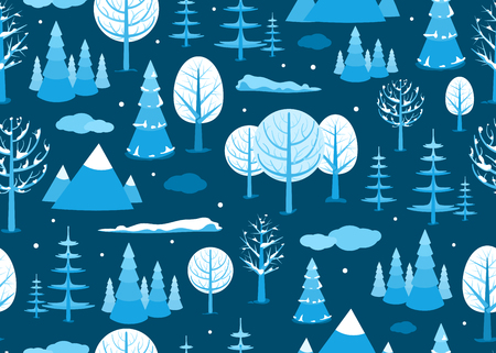 Winter landscape seamless background in minimal style. Horizontal cartoon flat land scene with trees, clouds, falling snow, spruce fir and mountains. Vector illustration.  イラスト・ベクター素材