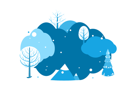 Winter landscape background with copy space. Horizontal cartoon flat land scene with trees, falling snow, spruce fir and mountains. Round design concept isolated on white. Vector illustration.
