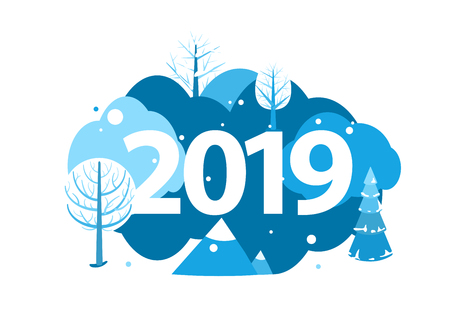 2019 Happy new year greeting card. Winter holiday landscape round concept with trees, mountains, spruce and fir. Round design concept isolated on white. Vector illustration