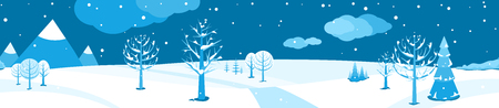 Winter landscape. Horizontal cartoon flat scene with falling snow, dark sky, different trees, spruce fir, clouds and mountains. Vector illustration