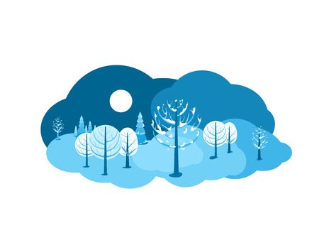 Winter landscape background. Horizontal cartoon flat land scene with dark sky, different trees, snow, spruce fir, clouds and moon. Round design concept isolated on white. Vector illustration.