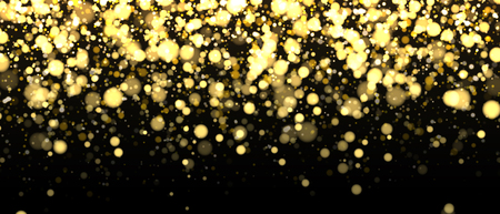 Gold blurred banner on black background. Glittering falling confetti backdrop. Golden shimmer texture for luxury design. Dust abstract on dark. Vector illustration.  イラスト・ベクター素材