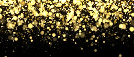 Gold blurred banner on black background. Glittering falling confetti backdrop. Golden shimmer texture for luxury design. Dust abstract on dark. Vector illustration. Illustration