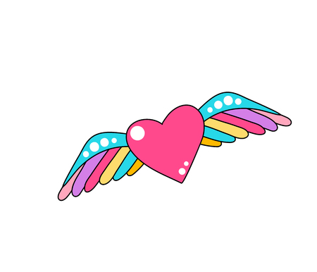 Heart with wings vector vector on a white background. Cool comic patch illustration.  イラスト・ベクター素材