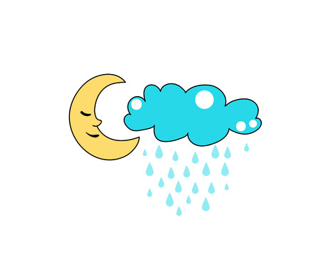 Cute cloud and moon vector. Character design. Rain drops. Cool comic patch illustration.