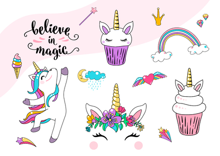 Cute unicorn vector with cupcake, dancing little horse, head with flowers, rainbow, diamond, ice cream and lettering quote believe in magic. Cool girl patches. Graphic design for print element. Illustration