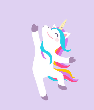 Cute dancing unicorn vector isolated on purple background. Cool patch illustration.