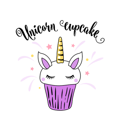 Cute unicorn cupcake with horn, ears and eyes on a white background. Cool comic patch illustration in purple color. Lettering text sign.