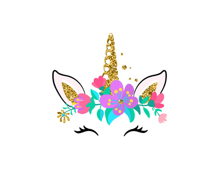 Unicorn cute vector illustration isolated on white background. Fashion girl patch with horse head, golden horn, ears, eyes and flowers.