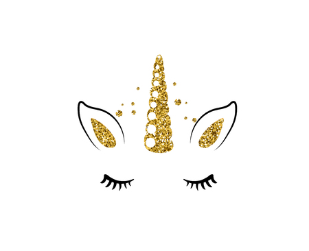 Unicorn cute vector illustration isolated on white background. Fashion girl patch with horse head, golden horn, ears and eyes.  イラスト・ベクター素材