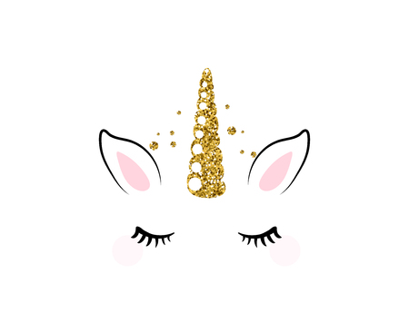 Unicorn cute vector illustration isolated on white background. Fashion girl patch with horse head, golden horn, ears and eyes. Ilustração