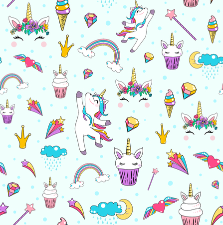 Cute unicorn seamless pattern background vector with horse, cupcake, head, heart, rainbow, diamond, clouds isolated on blue.  イラスト・ベクター素材