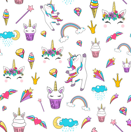 Cute unicorn seamless pattern background vector with horse, cupcake, head, heart, rainbow, diamond, clouds isolated on white.
