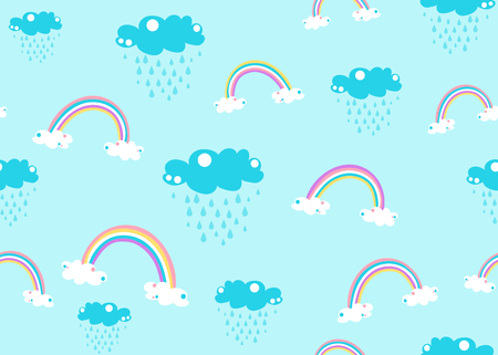 Cute unicorn rainbow and rain cloud seamless pattern background vector isolated on blue.  イラスト・ベクター素材