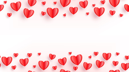 Heart seamless background with red paper cut hearts isolated on white. Love pattern for graphic design, cards, banner, flyer greetings. Vector illustration.