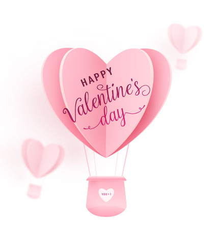 Happy valentines day vector design with paper cut pink heart shape hot air balloons flying on white background. Holiday greeting with love. Vector illustration.