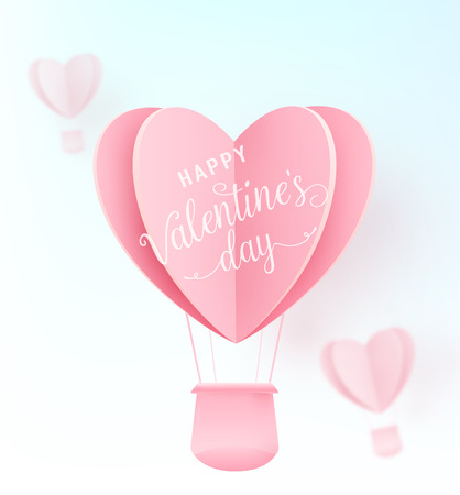 Happy valentines day vector design with paper cut pink heart shape hot air balloons flying on blue background. Holiday greeting with love. Vector illustration. Illustration